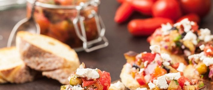 Olive oil and garlic bruschetta