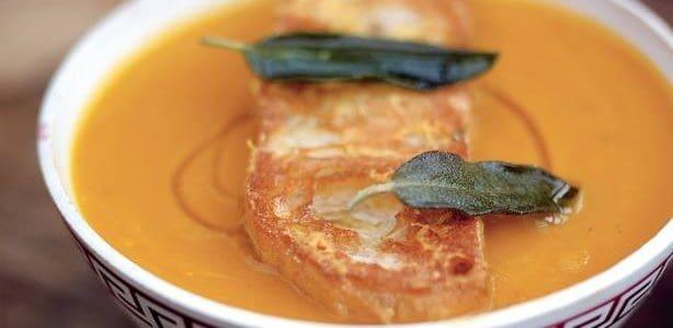 Superb Pumpkin Soup with Parmesan Croutons